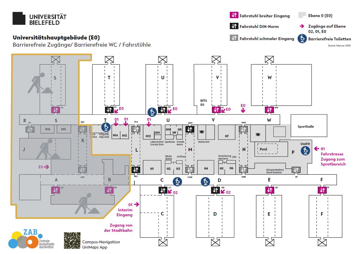 Plan des Hauptgebäudes