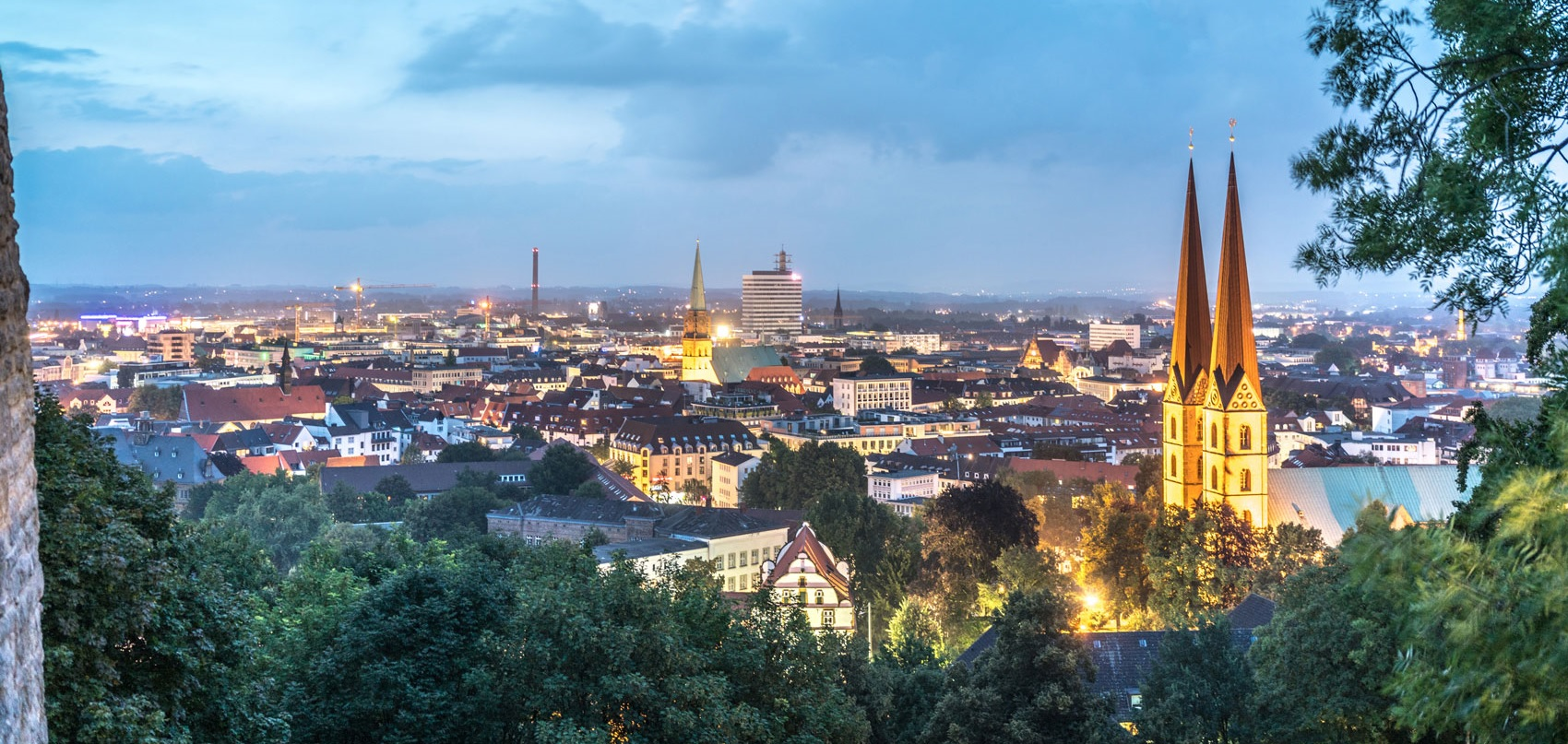 View on Bielefeld at dusk