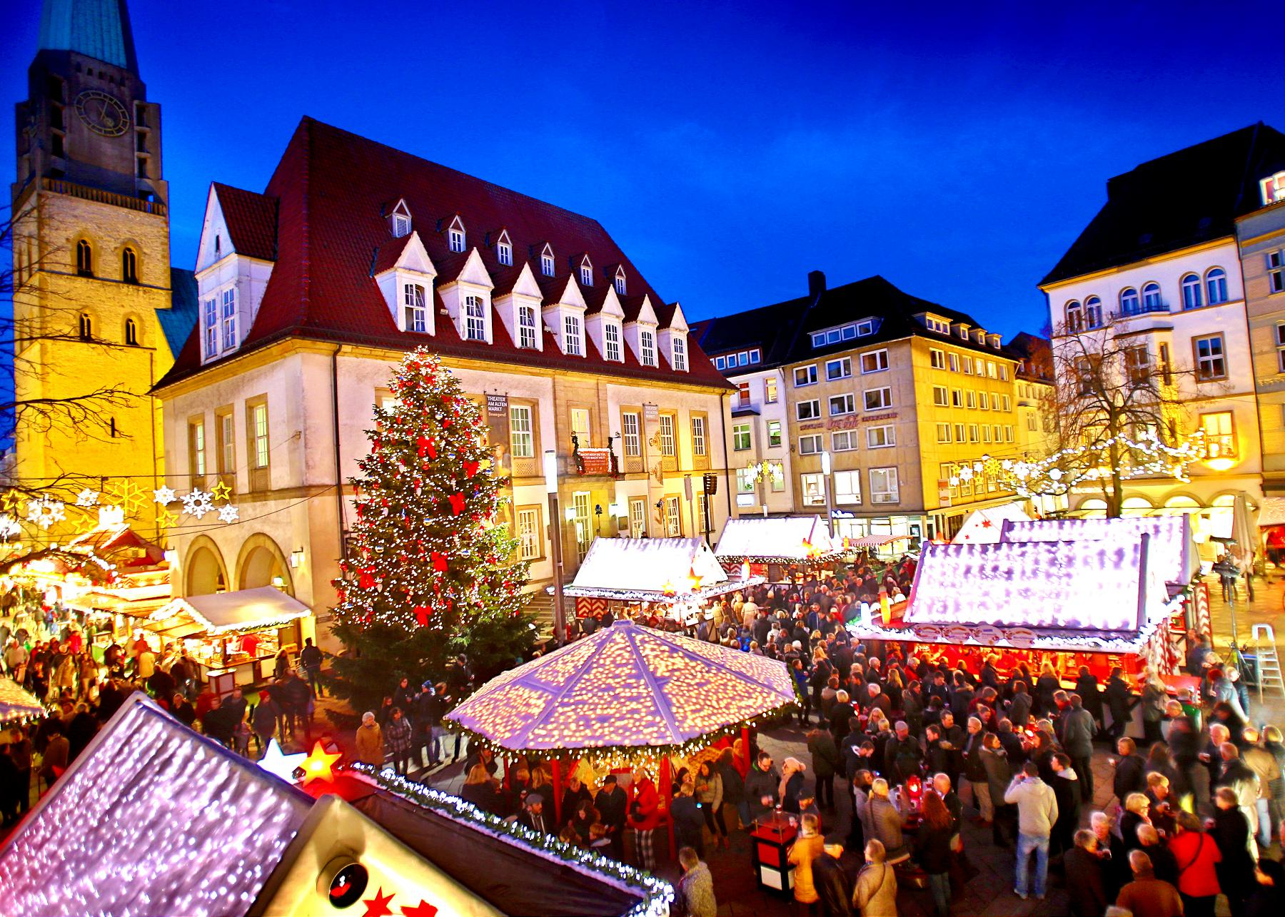 Stands at the Christmas Market in Bielefeld